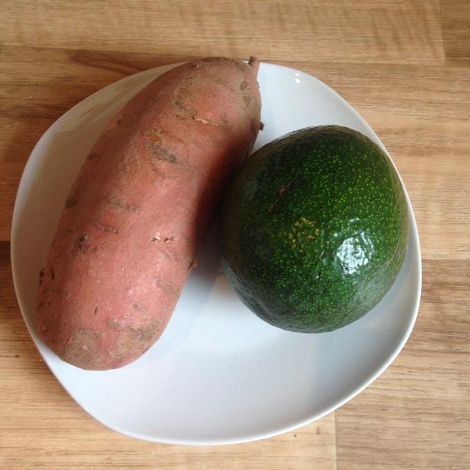 Süßkartoffel mit Avocado Zutaten
