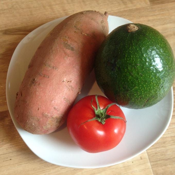 Zutaten Süßkartoffel mit Avocadocreme