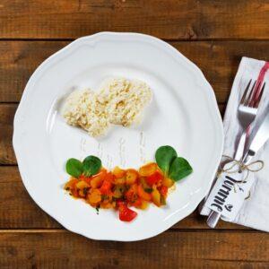 Paprika-Kokos-Pfanne mit Reiswolken (Gastbeitrag von wideofnorth)