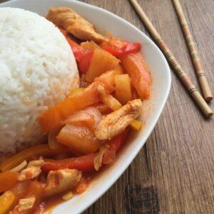 Hähnchen süß-sauer mit Reis