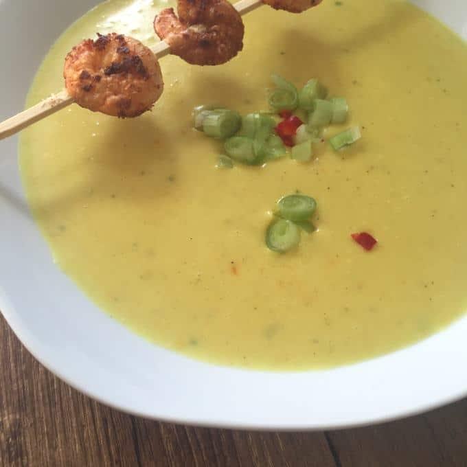 Kartoffel Curry Suppe mit Garnelen (1)