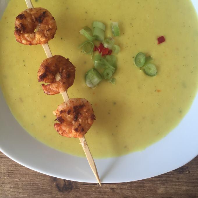 Kartoffel Curry Suppe mit Garnelen (4)
