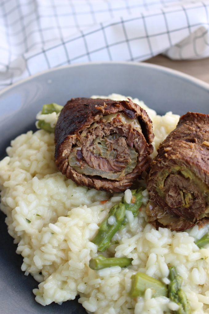 Roulade auf Spargelrisotto