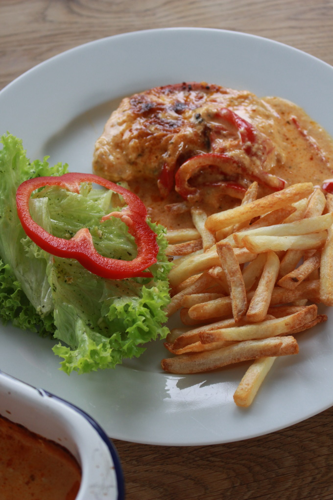 Paprika-Sahne-Schnitzel aus dem Ofen